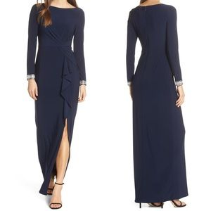 Vince Camuto beaded cuff ruched jersey gown navy